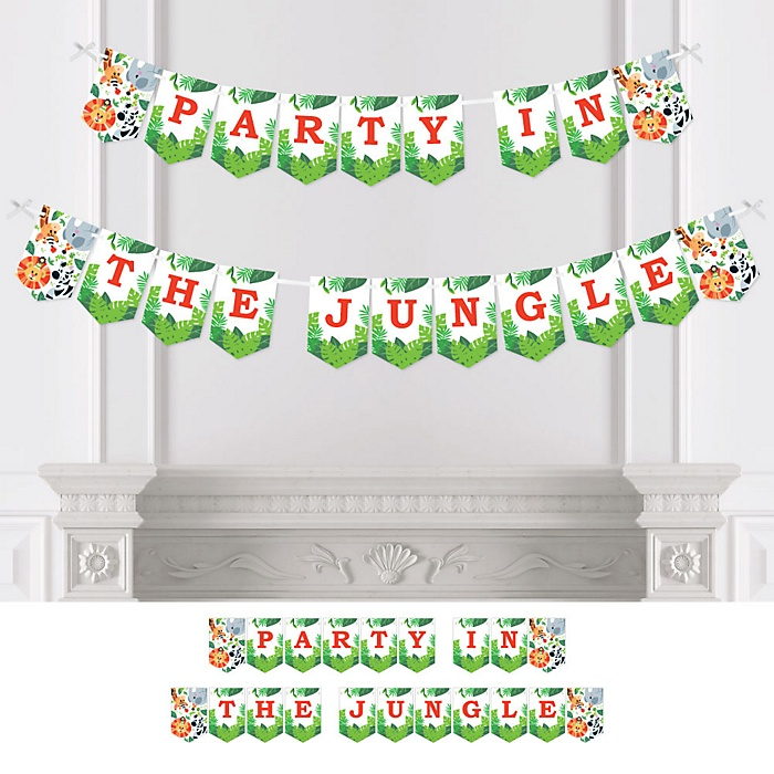Jungle Party Animals - Safari Zoo Animal Birthday Party or Baby Shower Bunting Banner - Party Decorations - Party in the Jungle