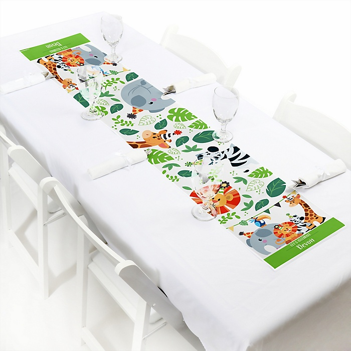 "Jungle Party Animals - Personalized Petite Safari Zoo Animal Birthday Party or Baby Shower Table Runner - 12"" x 60"""