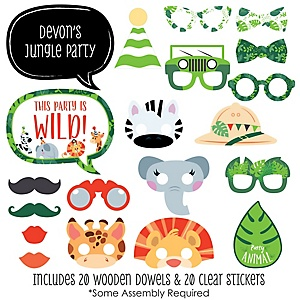 Jungle Party Animals -20 Piece Safari Zoo Animal Birthday Party or Baby Shower Photo Booth Props Kit