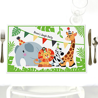 Jungle party animals party table decorations personalized safari jungle party animals party table decorations personalized safari zoo animal birthday party or baby shower placemats set of 12 bigdotofhappiness filmwisefo