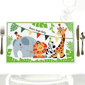 Jungle Party Animals - Party Table Decorations - Personalized Safari Zoo Animal Birthday Party or Baby Shower Placemats - Set of 12