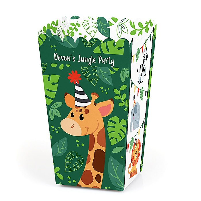 Jungle Party Animals - Personalized Safari Zoo Animal Birthday Party or Baby Shower Popcorn Favor Treat Boxes - Set of 12