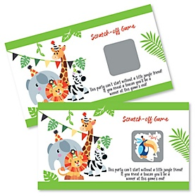 Jungle Party Animals - Safari Zoo Animal Birthday Party or Baby Shower Scratch Off Cards - 22 Cards