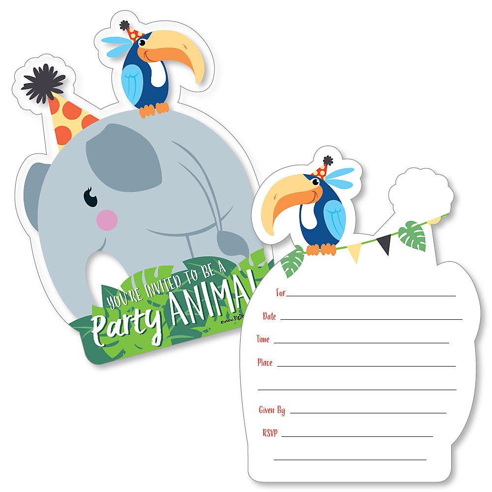 Jungle Party Animals Shaped Fill In Invitations Safari Zoo Animal Birthday Party Or Baby Shower Invitation Cards With Envelopes Set Of 12
