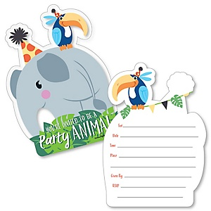 Jungle party animals birthday party theme bigdotofhappiness jungle party animals shaped fill in invitations safari zoo animal birthday party or baby shower invitation cards with envelopes set of 12 stopboris Image collections