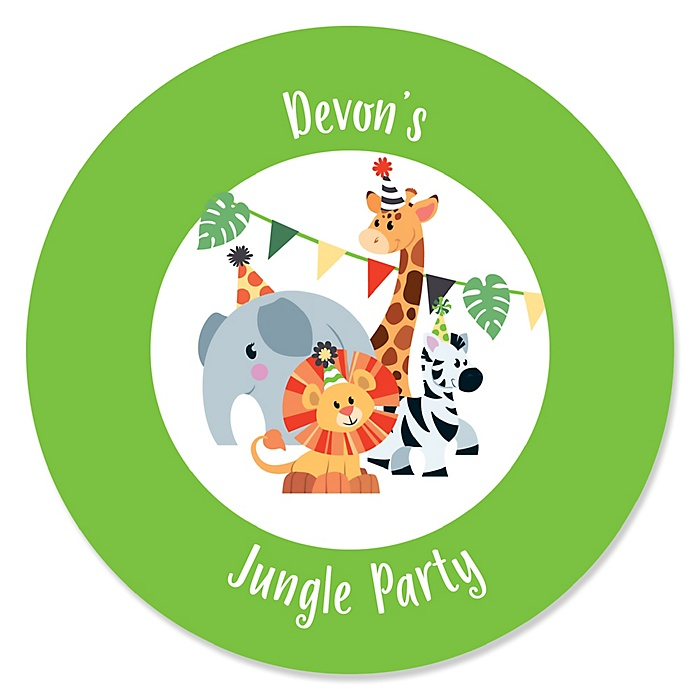 Jungle Party Animals - Personalized Safari Zoo Animal Birthday Party or Baby Shower Sticker Labels - 24 ct