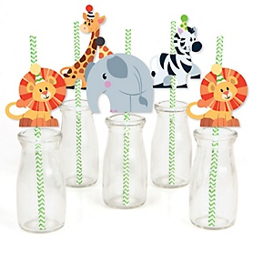 Jungle Party Animals - Paper Straw Decor - Safari Zoo Animal Birthday Party or Baby Shower Striped Decorative Straws - Set of 24