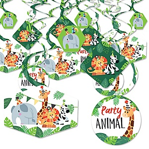 Jungle Party Animals - Safari Zoo Animal Birthday Party or Baby Shower Hanging Decor - Party Decoration Swirls - Set of 40