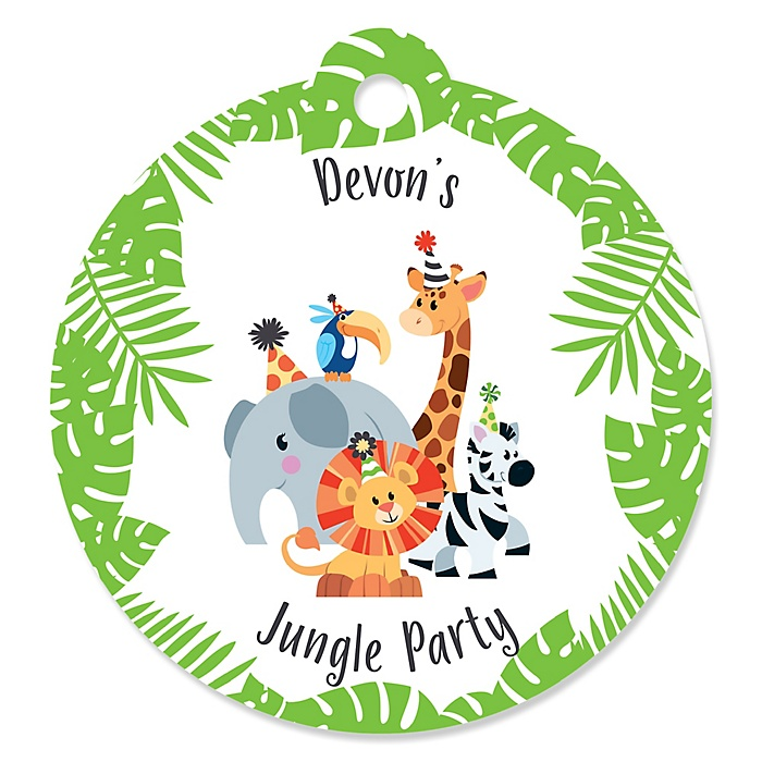 Jungle Party Animals - Personalized Safari Zoo Animal Birthday Party or Baby Shower Favor Gift Tags - 20 ct