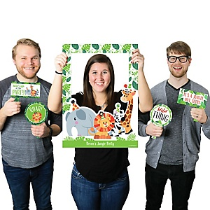 Jungle Party Animals - Personalized Safari Zoo Animal Birthday Party or Baby Shower Selfie Photo Booth Picture Frame & Props - Printed on Sturdy Material