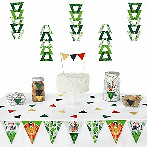 Jungle Party Animals -  Triangle Safari Zoo Animal Birthday Party or Baby Shower Decoration Kit - 72 Piece