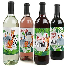 Jungle Party Animals - Safari Zoo Animal Birthday Party or Baby Shower Decorations for Women and Men - Wine Bottle Label Stickers - Set of 4