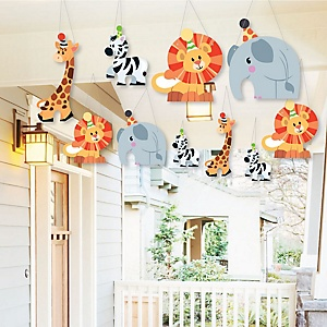 Hanging Jungle Party Animals - Outdoor Safari Zoo Animal Birthday Party or Baby Shower Hanging Porch & Tree Yard Decorations - 10 Pieces