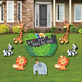Jungle Party Animals - Yard Sign & Outdoor Lawn Decorations - Safari Zoo Animal Birthday Party or Baby Shower Yard Signs - Set of 8