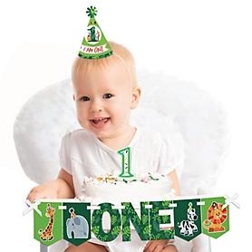 Jungle Party Animals 1st Birthday - First Birthday Girl or Boy Smash Cake Decorating Kit - Safari Zoo Animal High Chair Decorations