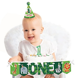 Jungle Party Animals 1st Birthday - First Birthday Girl or Boy Smash Cake Decorating Kit - Safari Zoo Animal High Chair Decorations