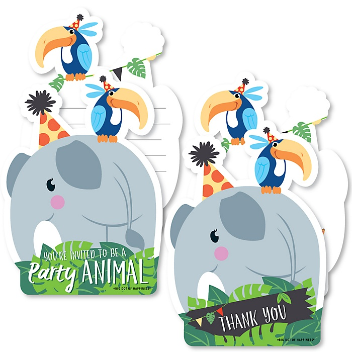 Jungle Party Animals - 20 Shaped Fill-In Invitations and 20 Shaped Thank You Cards Kit - Safari Zoo Animal Birthday Party or Baby Shower Stationery Kit - 40 Pack