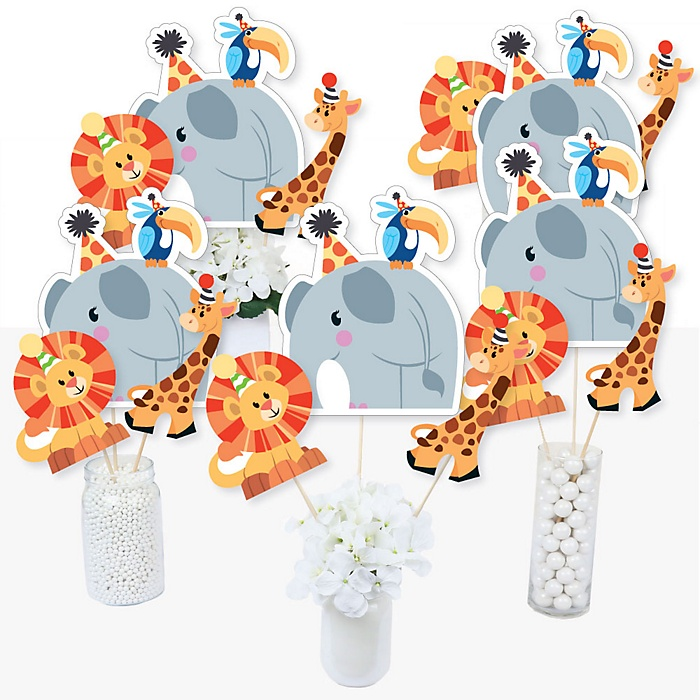 Jungle Party Animals - Safari Zoo Animal Birthday Party or Baby Shower Centerpiece Sticks - Table Toppers - Set of 15
