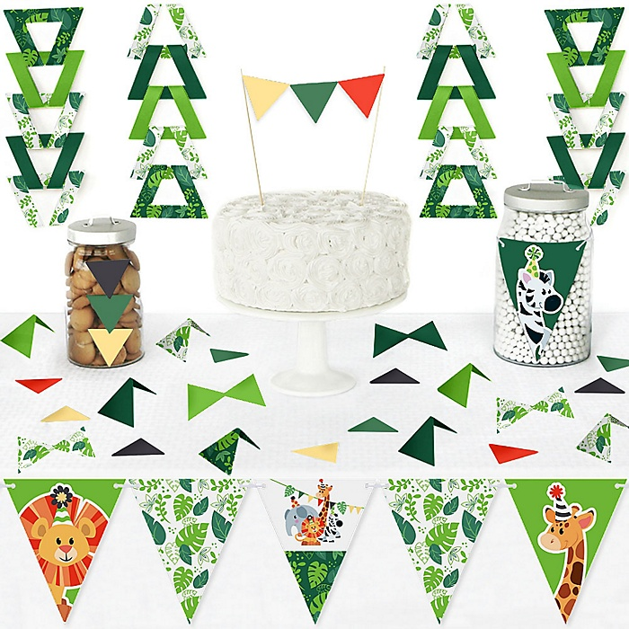 Jungle Party Animals - DIY Pennant Banner Decorations - Safari Zoo Animal Birthday Party or Baby Shower Triangle Kit - 99 Pieces