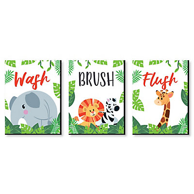 Jungle Party Animals Kids Bathroom Rules Wall Art 7 5 X 10 Set Of 3 Signs Wash Brush Flush