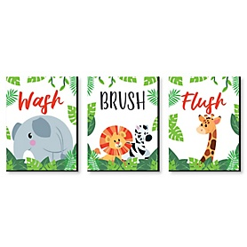 Jungle Party Animals - Kids Bathroom Rules Wall Art - 7.5 x 10 inches - Set of 3 Signs - Wash, Brush, Flush