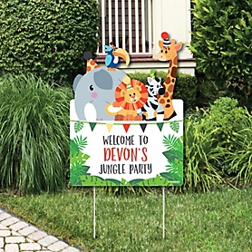 Jungle Party Animals - Party Decorations - Safari Zoo Animal Birthday Party or Baby Shower Personalized Welcome Yard Sign