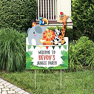 jungle party animals party decorations safari zoo animal birthday party or baby shower personalized welcome yard sign