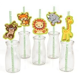 Funfari™ - Fun Safari Jungle - Paper Straw Decor - Baby Shower or Birthday Party Striped Decorative Straws - Set of 24
