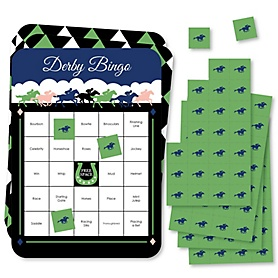 Kentucky Horse Derby - Bar Bingo Cards and Markers - Horse Race Party Bingo Game - Set of 18
