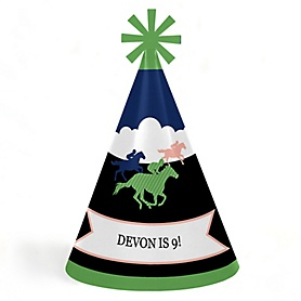 Kentucky Horse Derby - Personalized Cone Happy Birthday Party Hats for Kids and Adults - Set of 8 (Standard Size)