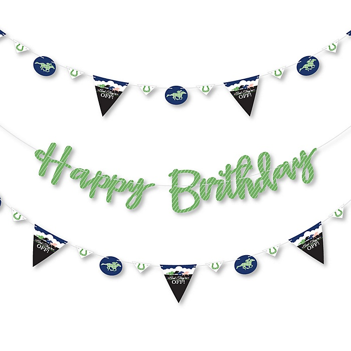 Kentucky Horse Derby - Horse Race Birthday Party Letter Banner Decoration - 36 Banner Cutouts and Happy Birthday Banner Letters