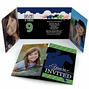 Kentucky Horse Derby - Personalized Horse Race Birthday Party Photo Invitations - Set of 12
