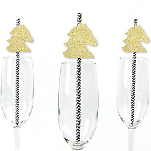 Gold Glitter Horse Party Straws - No-Mess Real Gold Glitter Cut-Outs and Decorative Kentucky Horse Derby Horse Race Party Paper Straws - Set of 24