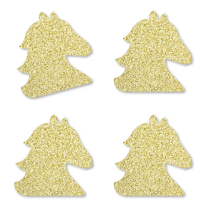 Gold Glitter Horse - No-Mess Real Gold Glitter Cut-Outs - Kentucky Horse Derby Horse Race Party Confetti - Set of 24