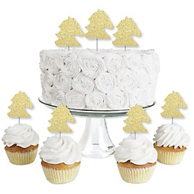 Gold Glitter Horse - No-Mess Real Gold Glitter Dessert Cupcake Toppers - Kentucky Horse Derby Horse Race Party Clear Treat Picks - Set of 24