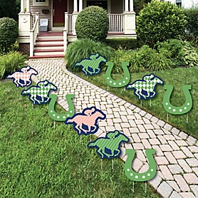 Kentucky Horse Derby - Lawn Decorations - Outdoor Horse Race Party Yard Decorations - 10 Piece