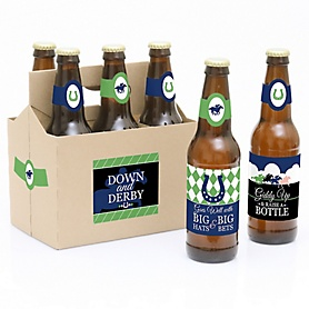 Kentucky Horse Derby - Decorations for Women and Men - 6 Horse Race Birthday Party Beer Bottle Label Stickers and 1 Carrier