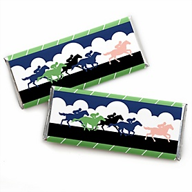 Kentucky Horse Derby -  Candy Bar Wrapper Horse Race Party Favors - Set of 24