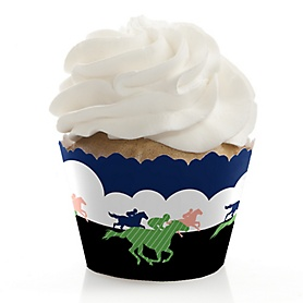 Kentucky Horse Derby - Horse Race Party Decorations - Party Cupcake Wrappers - Set of 12