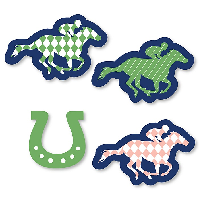 Kentucky Horse Derby - DIY Shaped Horse Race Party Cut-Outs - 24 ct