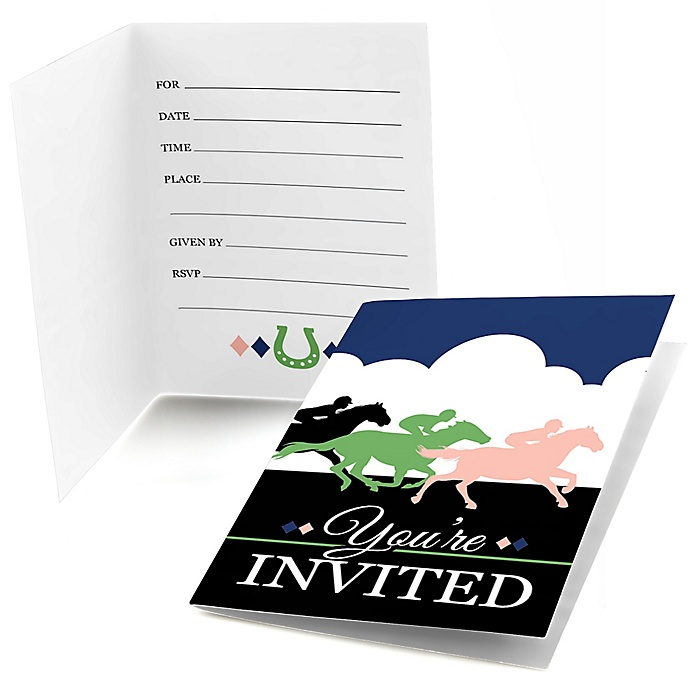 Kentucky Horse Derby - Fill In  Horse Race Party Invitations  - 8 ct