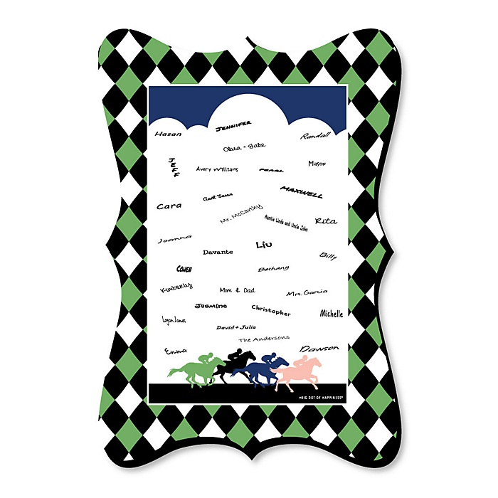 Kentucky Horse Derby - Unique Alternative Guest Book - Horse Race Party Signature Mat