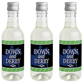 Kentucky Horse Derby - Mini Wine and Champagne Bottle Label Stickers - Horse Race Party Favor Gift - For Women and Men - Set of 16