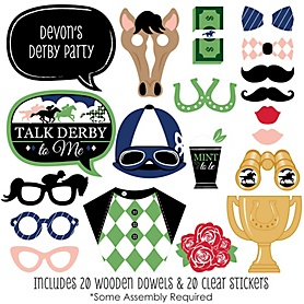 Kentucky Horse Derby - 20 Piece Horse Race Party Photo Booth Props Kit