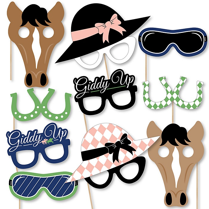 Kentucky Horse Derby Glasses, Masks & Headpieces - Paper Card Stock Horse Race Party Photo Booth Props Kit - 10 Count