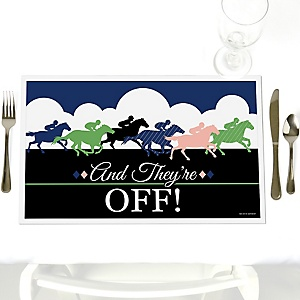 Kentucky Horse Derby - Party Table Decorations - Horse Race Party Placemats - Set of 12