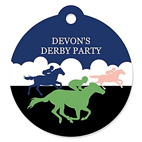 Kentucky Horse Derby - Round Personalized Horse Race Party Tags - 20 ct