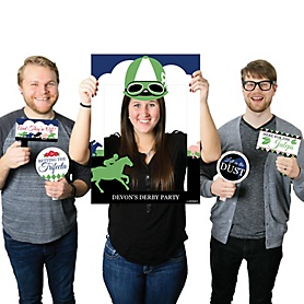 Kentucky Horse Derby - Personalized Horse Race Party Selfie Photo Booth Picture Frame & Props - Printed on Sturdy Material