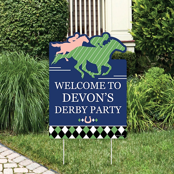 Kentucky Horse Derby - Party Decorations - Horse Race Party Personalized Welcome Yard Sign