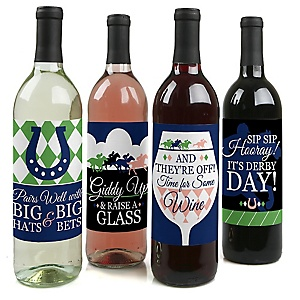 Kentucky Horse Derby - Horse Race Birthday Party Decorations for Women and Men - Wine Bottle Label Stickers - Set of 4